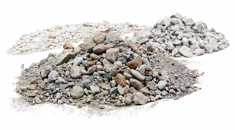 Recycled aggregates are differentiated between material classes